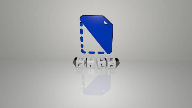 概念とプレゼンテーションの関連する意味のためのメタリックダイス文字によって作られたfileグラフィックスとテキストの3dイラスト。アイコンと背景 - business icon eps ストックフォトと画像