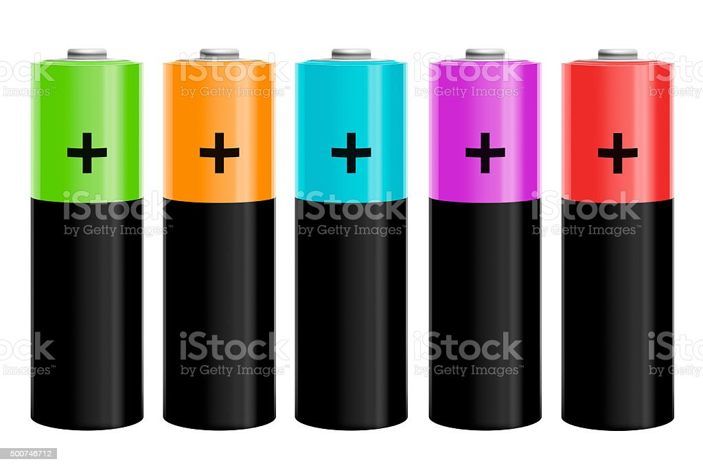 Illustration of five colored batteries stock photo