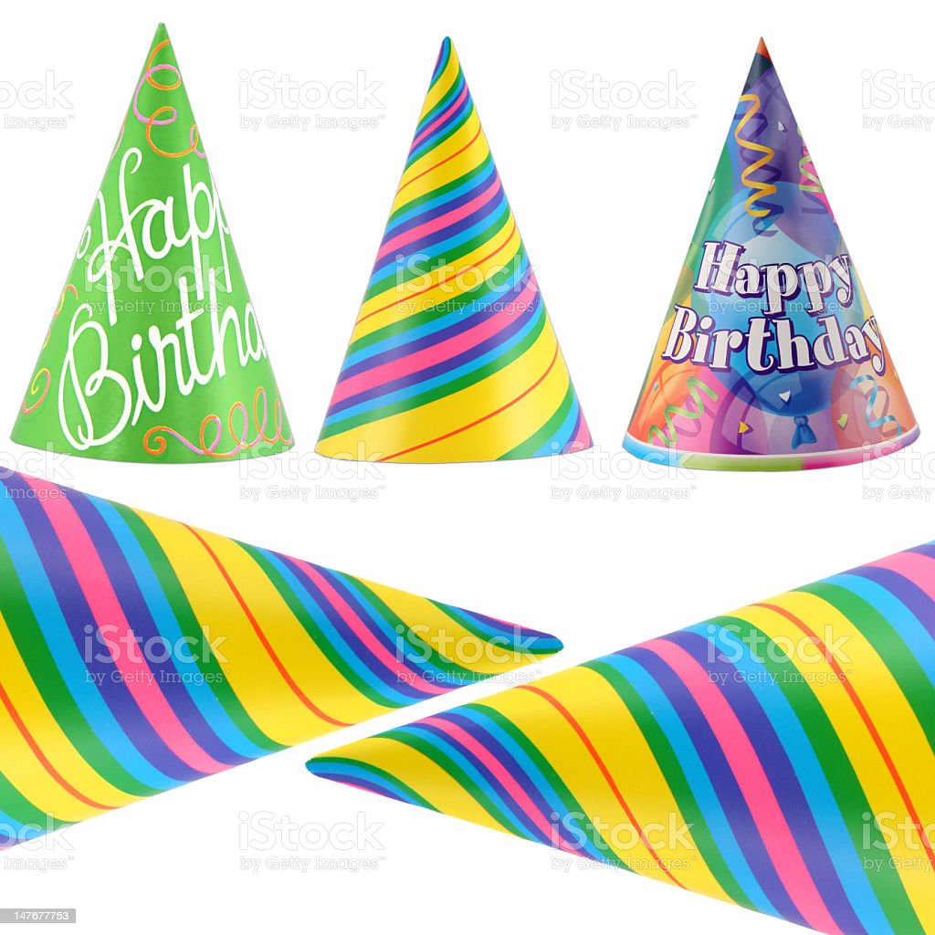 Illustration of five colorful party hats royalty-free stock photo