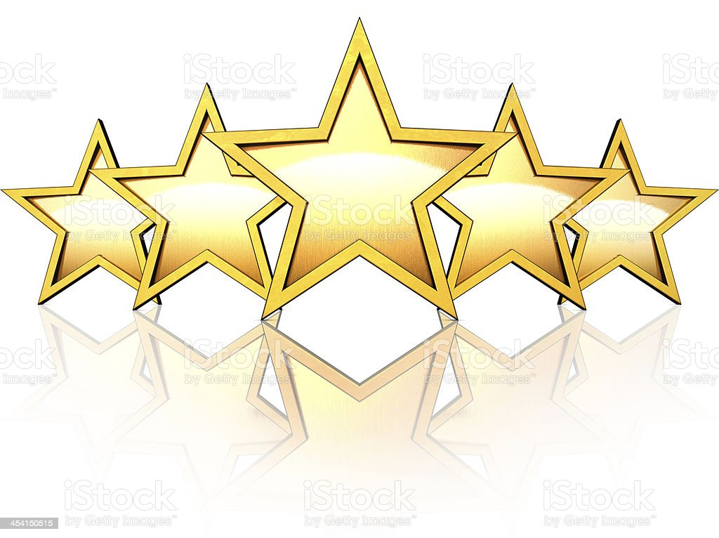 Illustration of five gold stars on white reflective surface stock photo