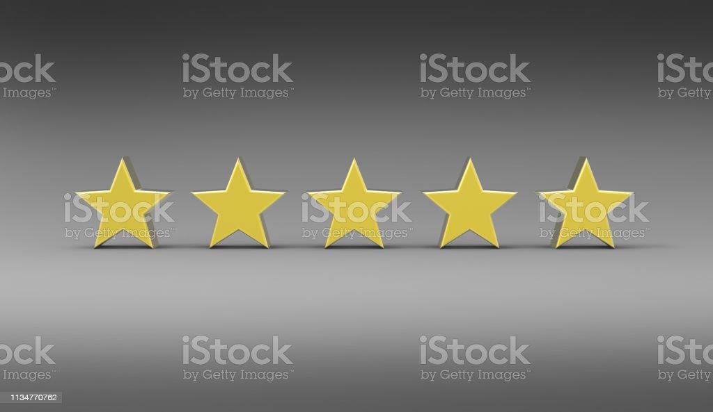 3D illustration of five stars on a grey background
