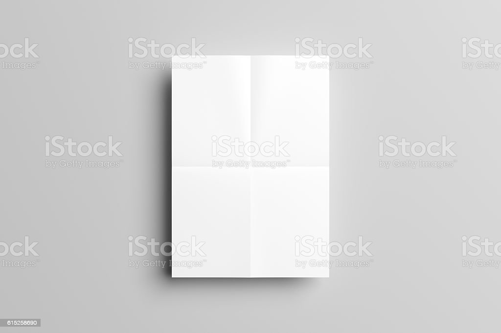 3D Illustration of folded Poster Mock-up. stock photo