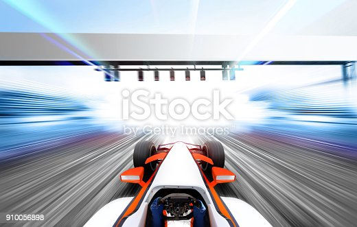 3D illustration of formula one car driving at high speed lap - motion blur