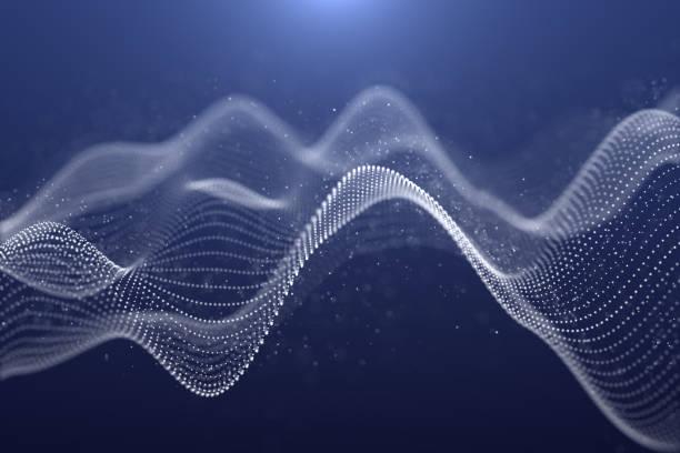 Ilustración de fondo abstracto futurista, forma de partícula de ondas de color blanco sobre el fondo azul oscuro, diseño digital de gráficos de movimiento para la tecnología de negocios y concepto de ciencia - foto de stock