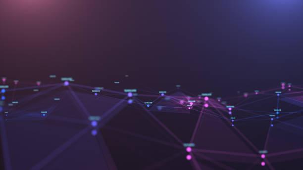 Ilustración de fondo abstracto futurista, línea de formas poligonales conectar se conecta al punto, diseño digital para la tecnología de negocios y concepto de ciencia, banner horizontal para el diseño del sitio web - foto de stock