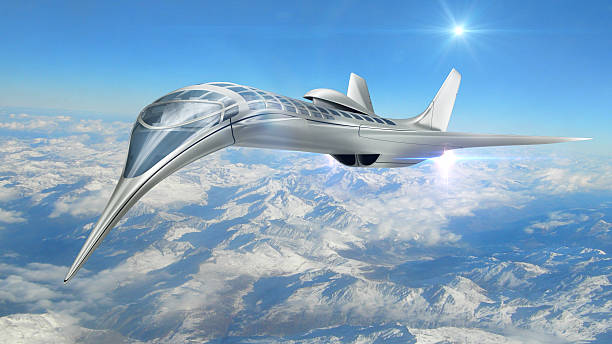 3D illustration of futuristic aircraft 3D Rendering of futuristic airplane flying above clouds, for science fiction or military aircraft backgrounds supersonic airplane stock pictures, royalty-free photos & images