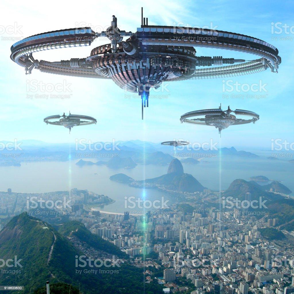 3D Abbildung des futuristischen Energiequelle in Rio De Janeiro – Foto
