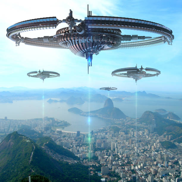 illustration 3d de source d'énergie futuriste à rio de janeiro - vaisseau spatial photos et images de collection