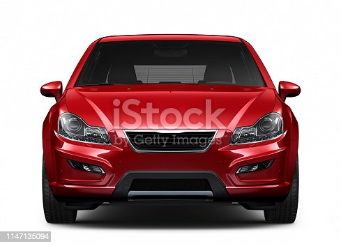3D illustration of Generic compact car on white background