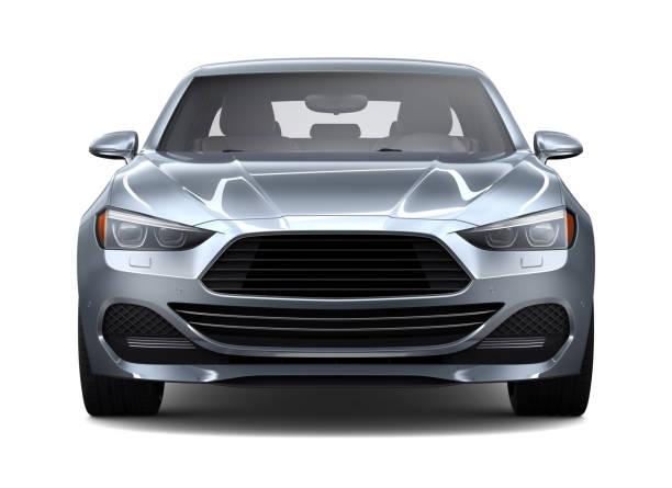 일반 컴팩트 자동차-전면 보기의 3d 그림 - 전경 뉴스 사진 이미지