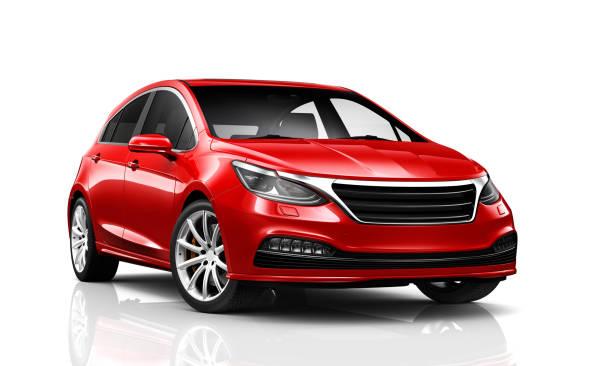 illustrazione 3d di generic compact car - vista prospettica - auto foto e immagini stock