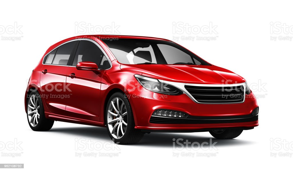 3D illustration of Generic compact red  car - side view - foto stock