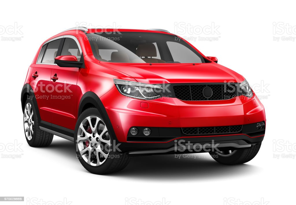 3D illustration of Generic Compact red SUV 3D illustration of Generic Compact red SUV isolated on white Car Stock Photo