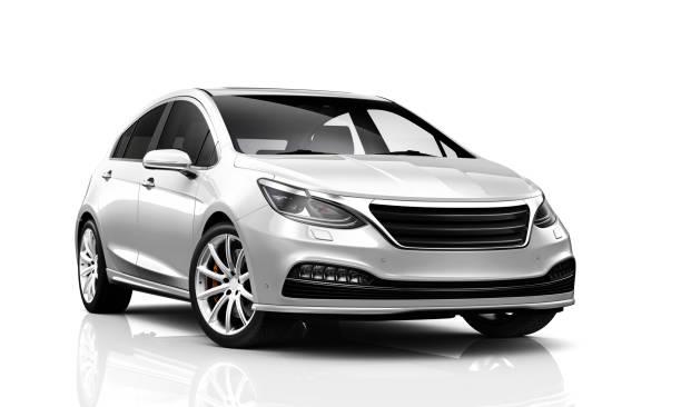 illustrazione 3d dell'auto bianca compatta generica - vista frontale - auto foto e immagini stock