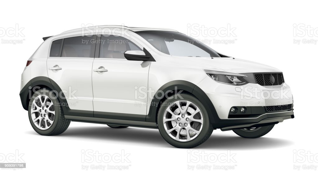 3D illustration of Generic Compact white SUV 3D illustration of Generic Compact white SUV isolated on white background Car Stock Photo