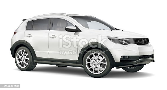 istock 3D illustration of Generic Compact white SUV 959391798