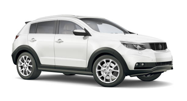 3D illustration of Generic Compact white SUV stock photo