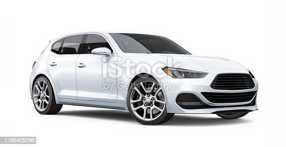 3D illustration of Generic hatchback car - perspective view