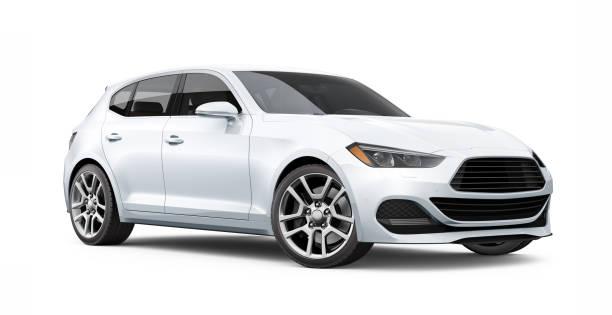 3d-illustration des generic hatchback car-perspektive - hecktürmodell stock-fotos und bilder