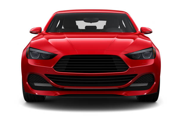 3d illustration of generic red car - front view - front view stock pictures, royalty-free photos & images