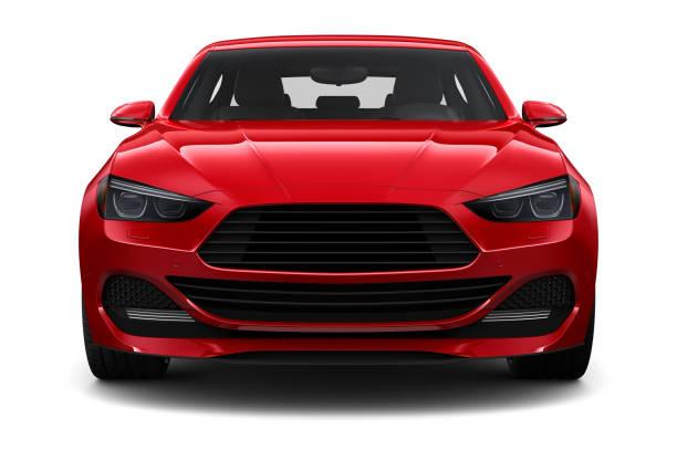 일반 빨간색 자동차-전면 보기의 3d 그림 - 전경 뉴스 사진 이미지