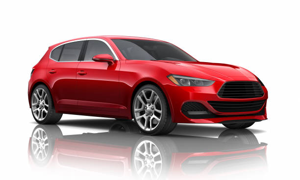 3D illustration of Generic red car on white background stock photo
