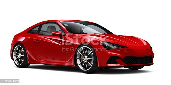 Red Generic Sports Coupe Car isolated on white background