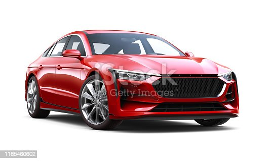3D illustration of Generic red sedan car - Front Side View