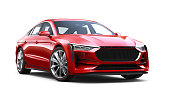 istock 3D illustration of Generic red sedan car - Front Side View 1185460602