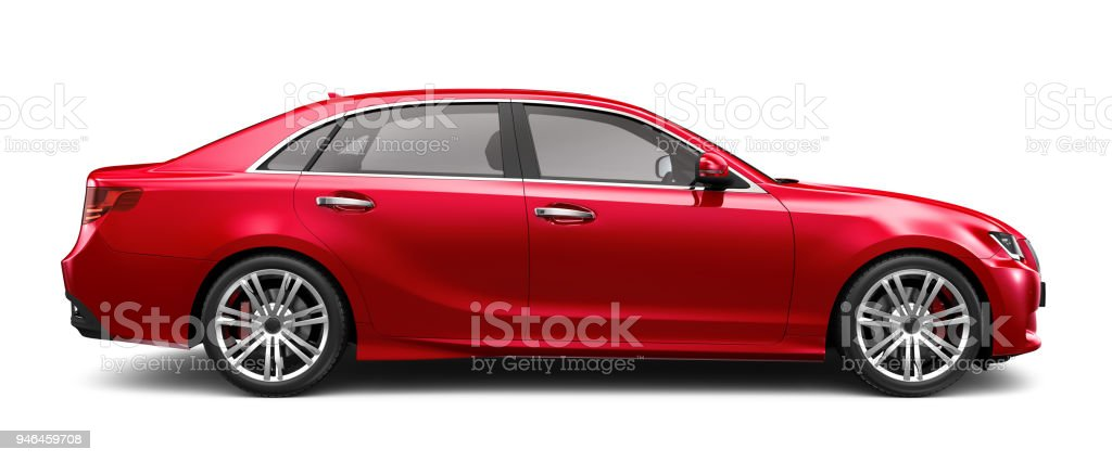 3D illustration of Generic Red Sedan Car on white 3D rendering of a red generic car in studio environment At The Edge Of Stock Photo
