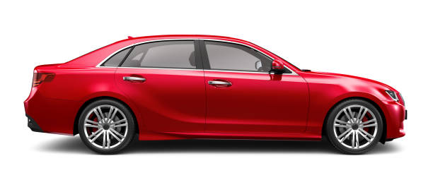 3D illustration of Generic Red Sedan Car on white 3D rendering of a red generic car in studio environment side view stock pictures, royalty-free photos & images