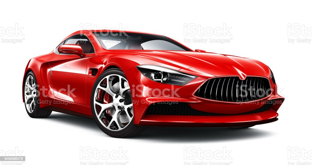 3D illustration of Generic Red Sports Car on white - foto stock