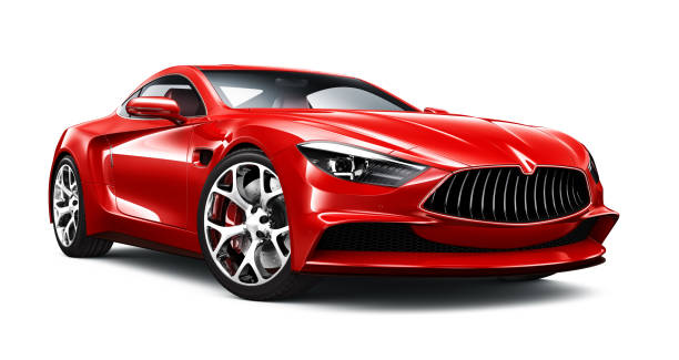 3D illustration of Generic Red Sports Car on white Generic Red Sports Car isolated on white background sports car stock pictures, royalty-free photos & images
