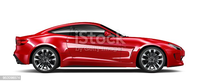 3D illustration of Generic red sports car isolated on white background