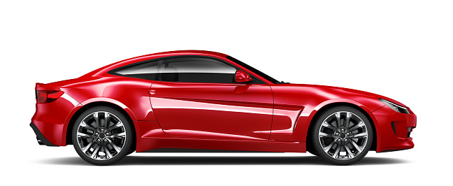 3d Illustration Of Generic Red Sports Car Side View Stock Photo - Download Image Now