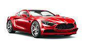 3D illustration of Generic Red sports coupe car on white background