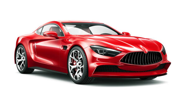 3D illustration of Generic Red sports coupe car on white background 3D illustration of Generic Red sports coupe car on white background sports car stock pictures, royalty-free photos & images