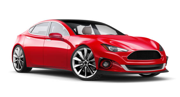 3D illustration of Generic Red sports sedan car on white background stock photo