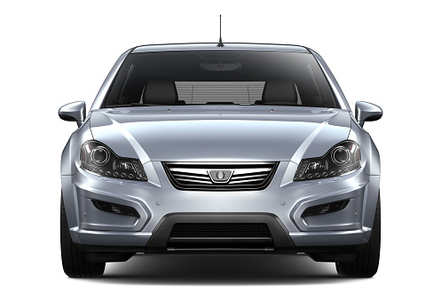 3d Illustration Of Generic Silver Car Front View Stock Photo - Download Image Now