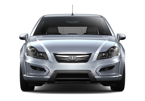 3D illustration of Generic silver car - front view - foto stock