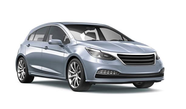 illustrazione 3d del hatchback d'argento generico su sfondo bianco - auto foto e immagini stock