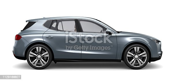 istock 3D illustration of Generic silver SUV on white background 1129188827