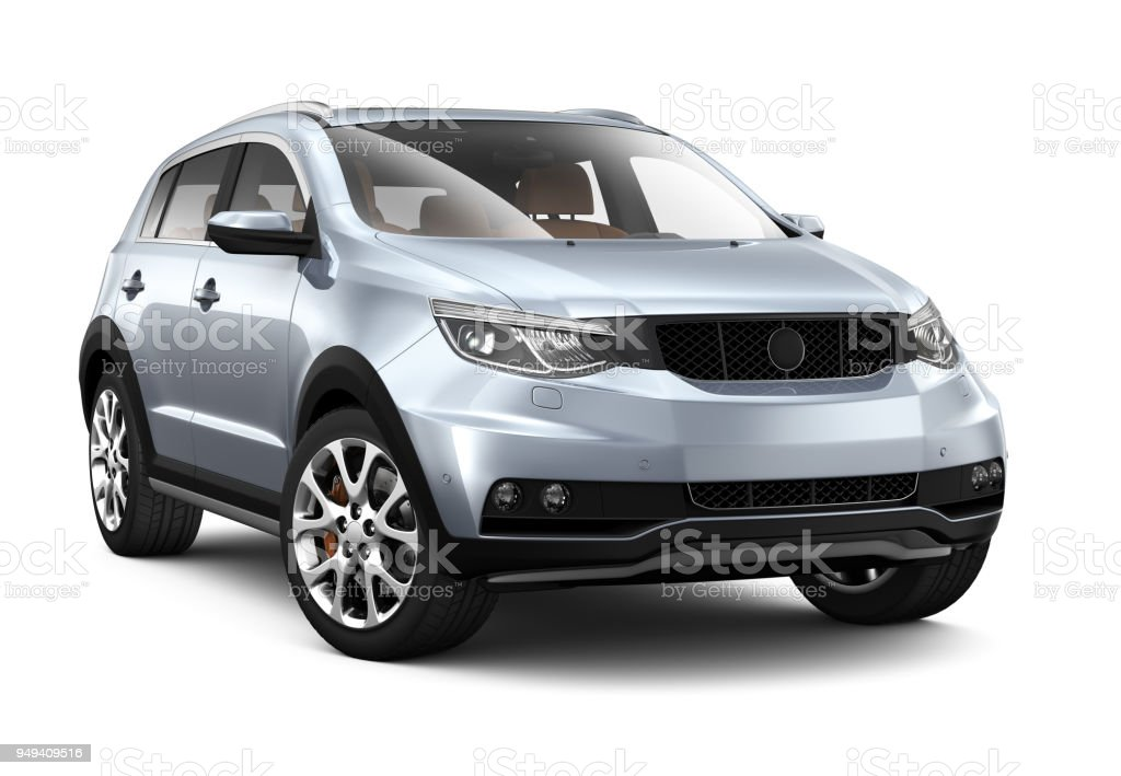 3D illustration of Generic SUV Car on white 3D illustration of Generic SUV Car on white background Blue Stock Photo