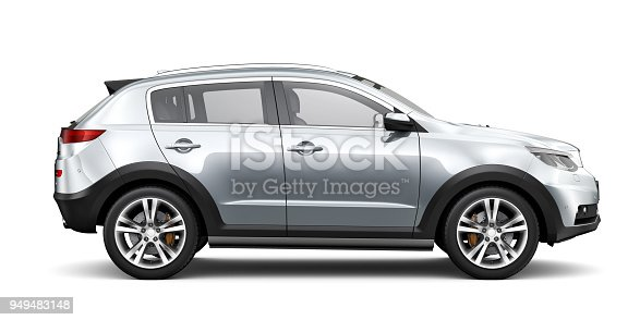 3D illustration of Generic compact SUV - rendered om white background