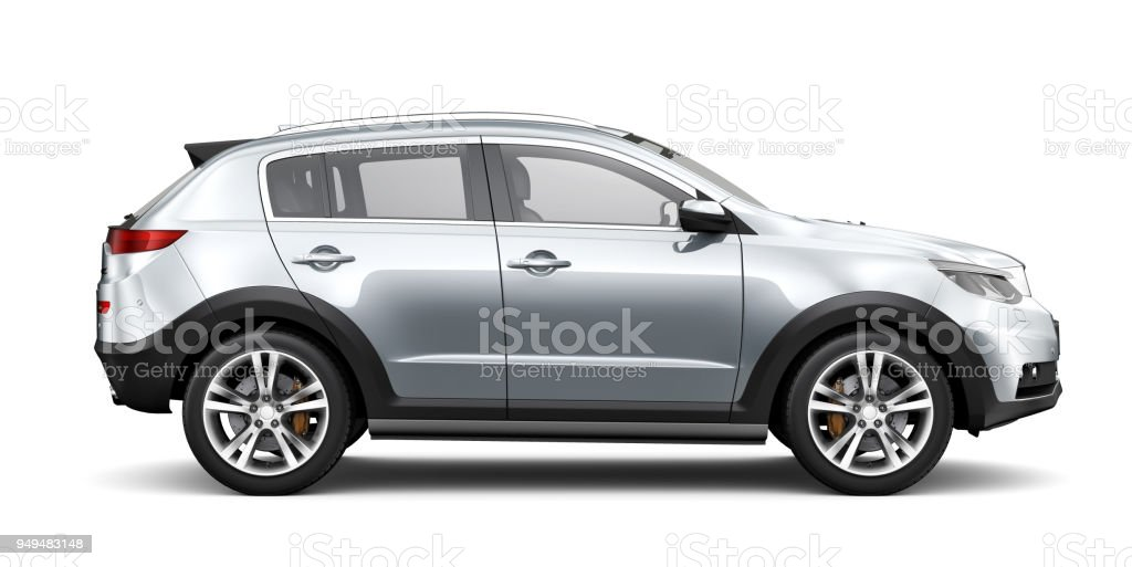 3D illustration of Generic SUV car - side view стоковое фото