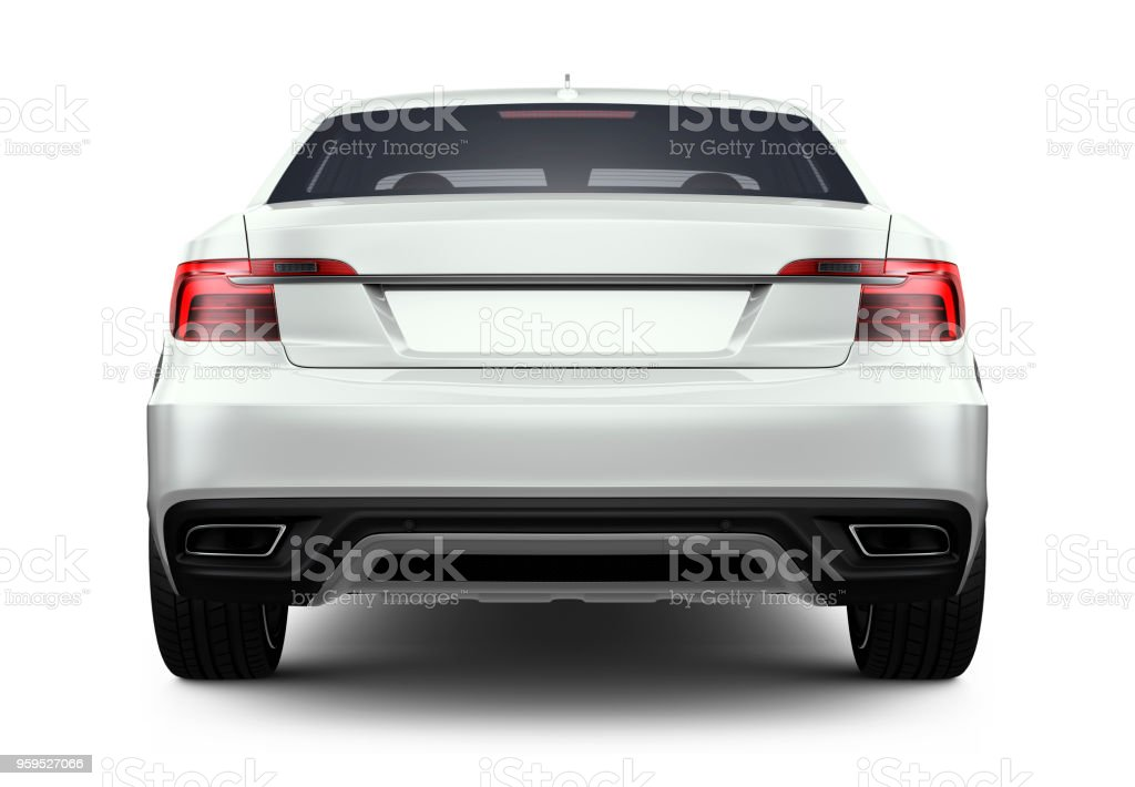 3D illustration of Generic white car - rear angle stock photo