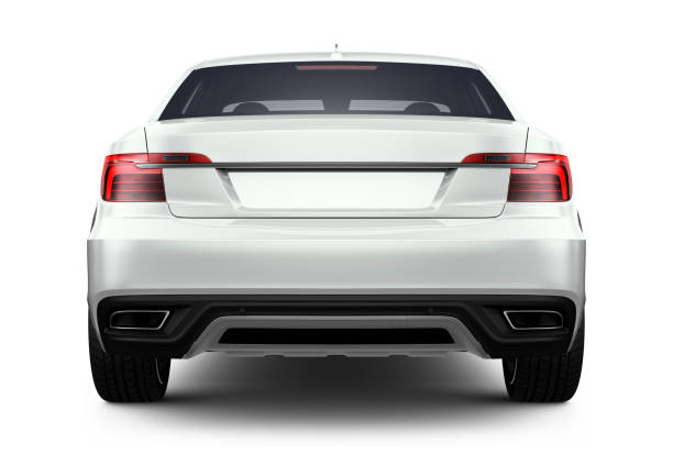 3d illustration of generic white car - rear angle - rear view stock photos and pictures