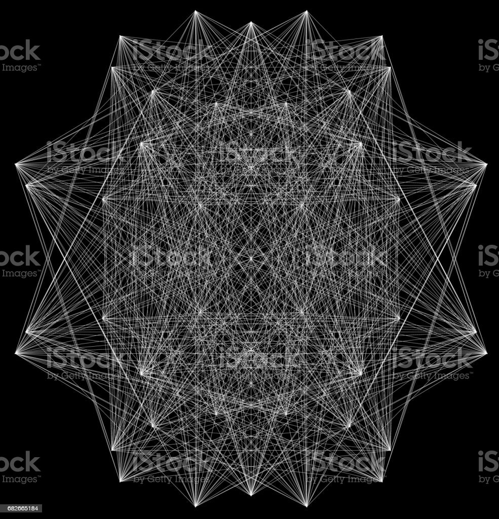 3D illustration of geometric sheme connection structure stock photo