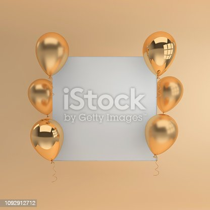 istock Illustration of glossy golden balloons and white paper on pastel beige colored background. Empty space for birthday, party, promotion social media banners, posters. 3d render realistic balloons 1092912712