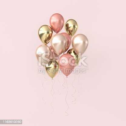 Illustration of glossy pink and golden balloons on pastel colored background. Empty space for birthday, party, promotion social media banners, posters. 3d render realistic balloons